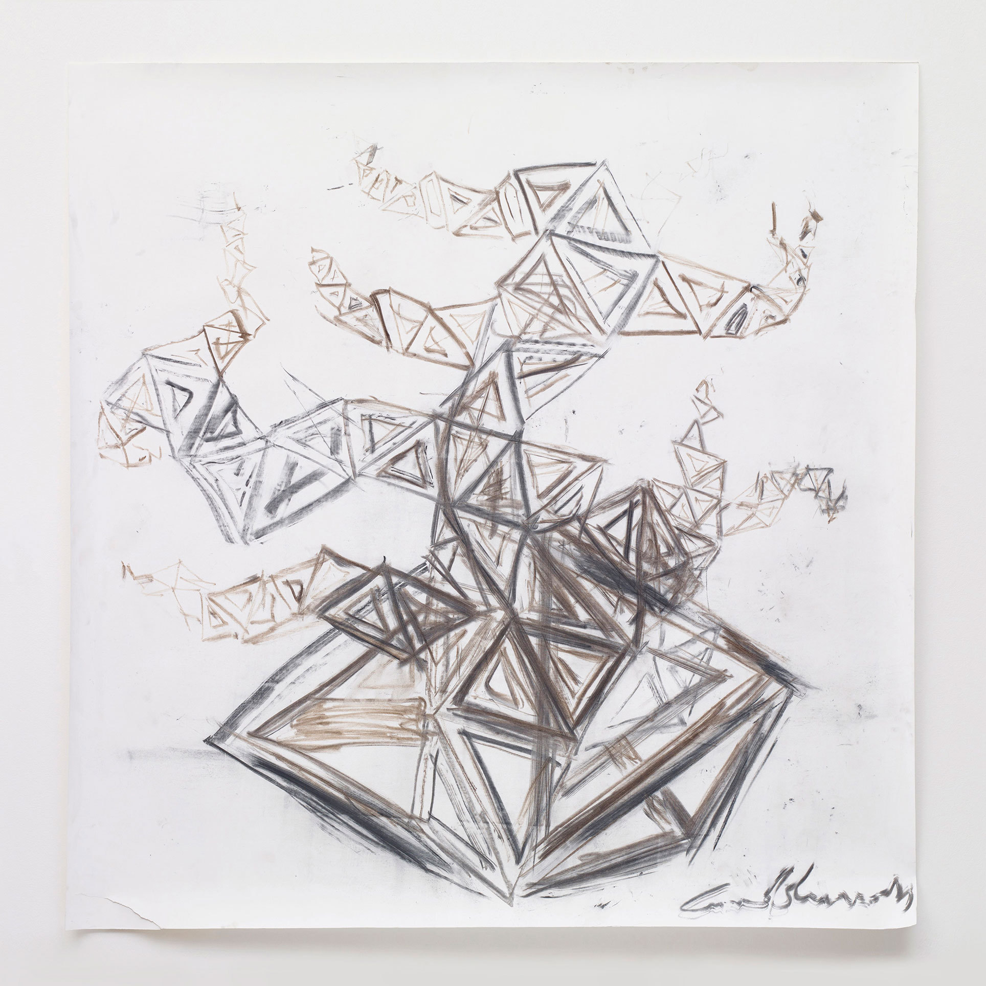 Conrad Shawcross: 'Charcoal Study for The Dappled Light of The Sun'.